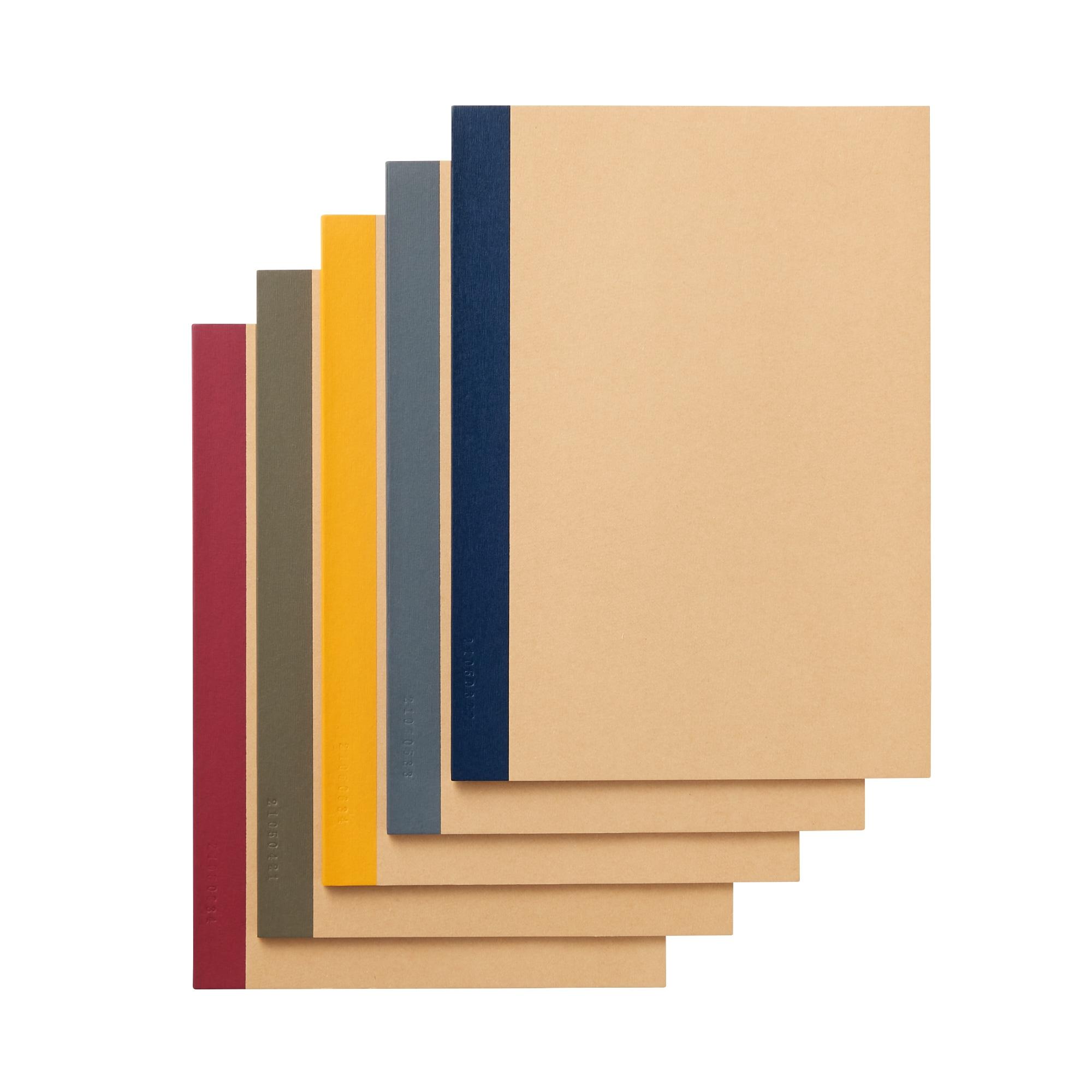 植林木ペーパー裏うつりしにくいノート5冊組 B5・30枚・6mm横罫・背クロス5色