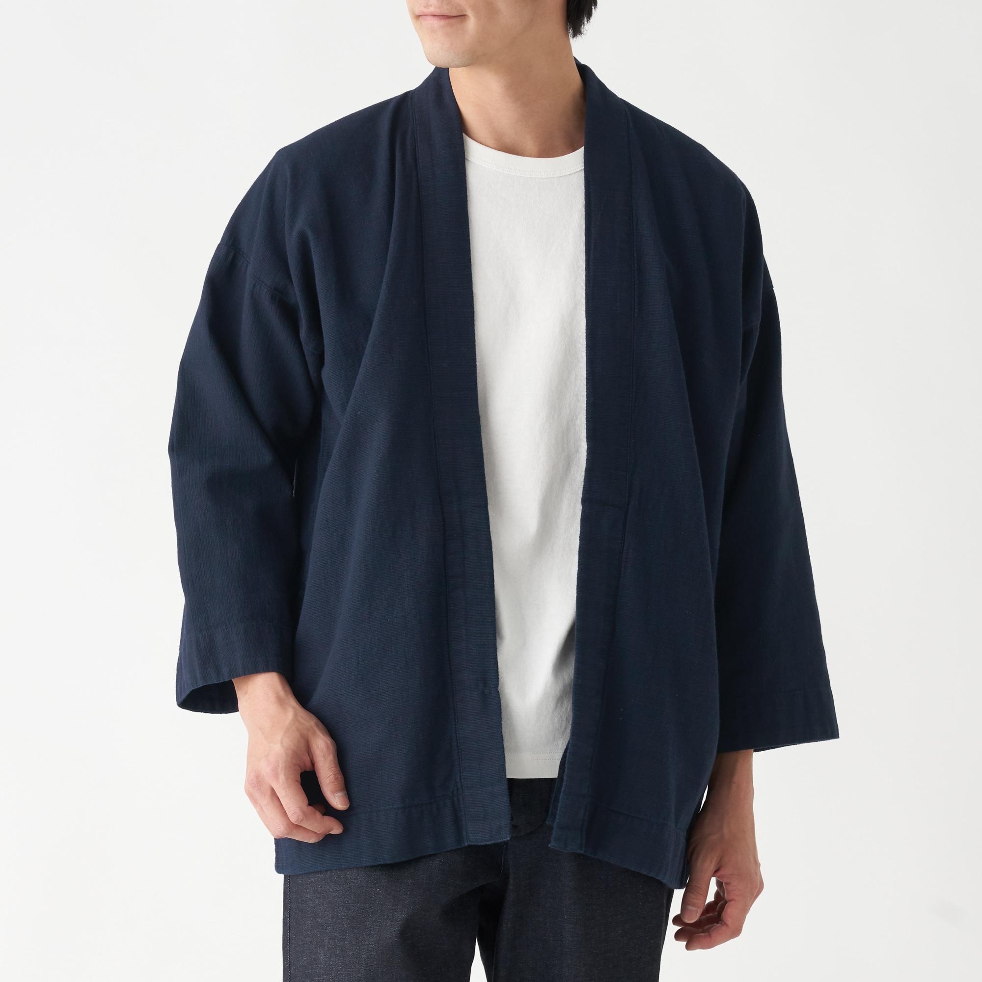 トルコ綿インディゴ染めはっぴ 男女兼用XXS~XS・ダークネイビー