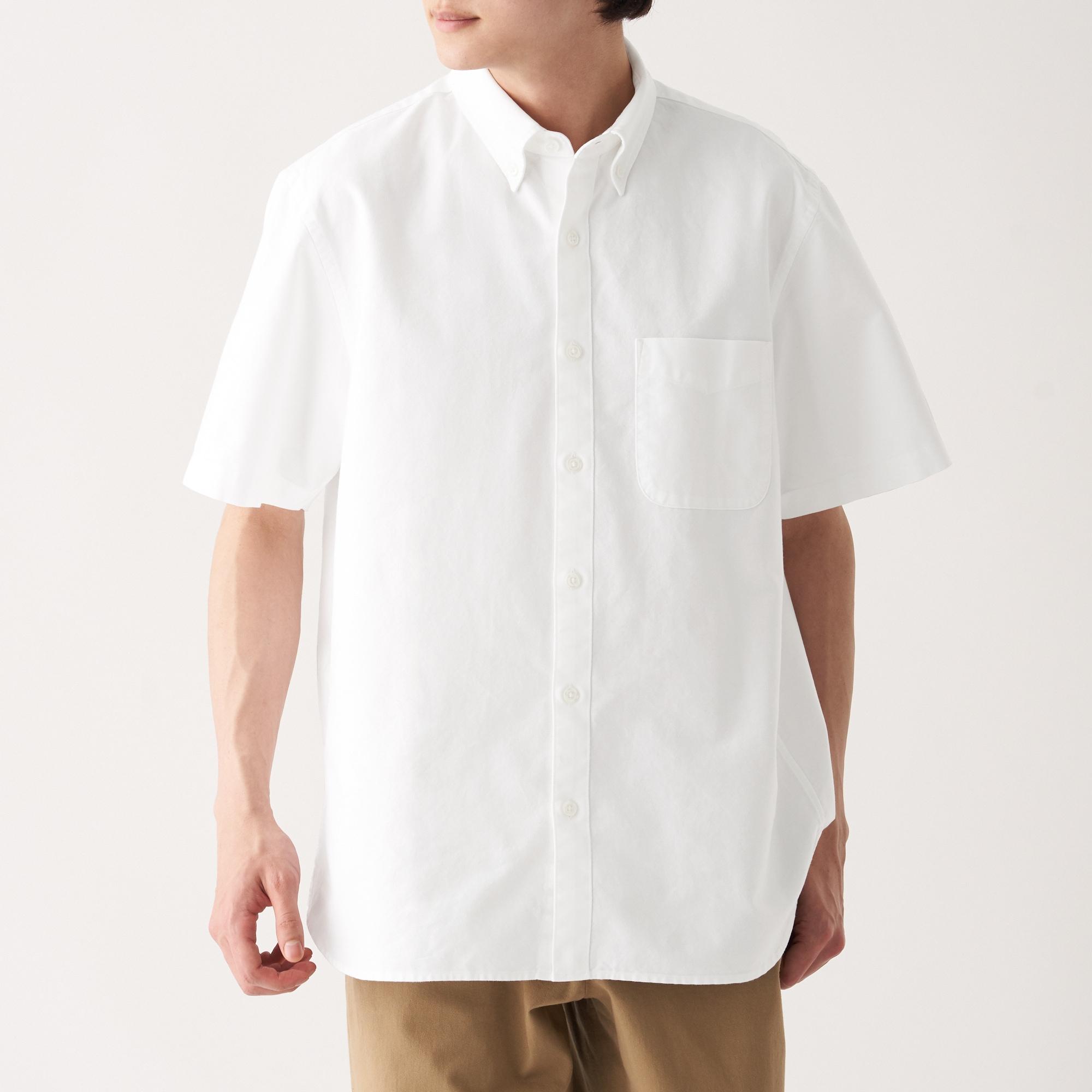新疆綿洗いざらしオックスボタンダウン半袖シャツ 紳士XS・白