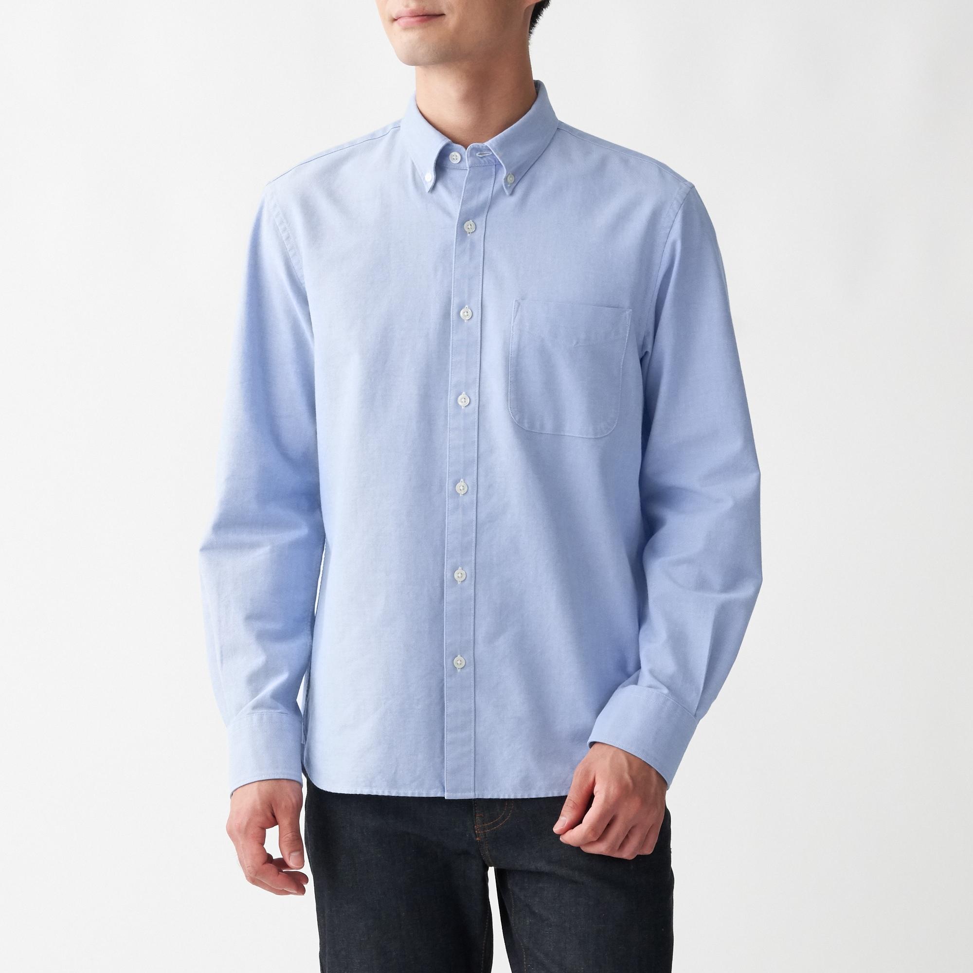 新疆綿洗いざらしオックスボタンダウンシャツ 紳士XS・サックスブルー